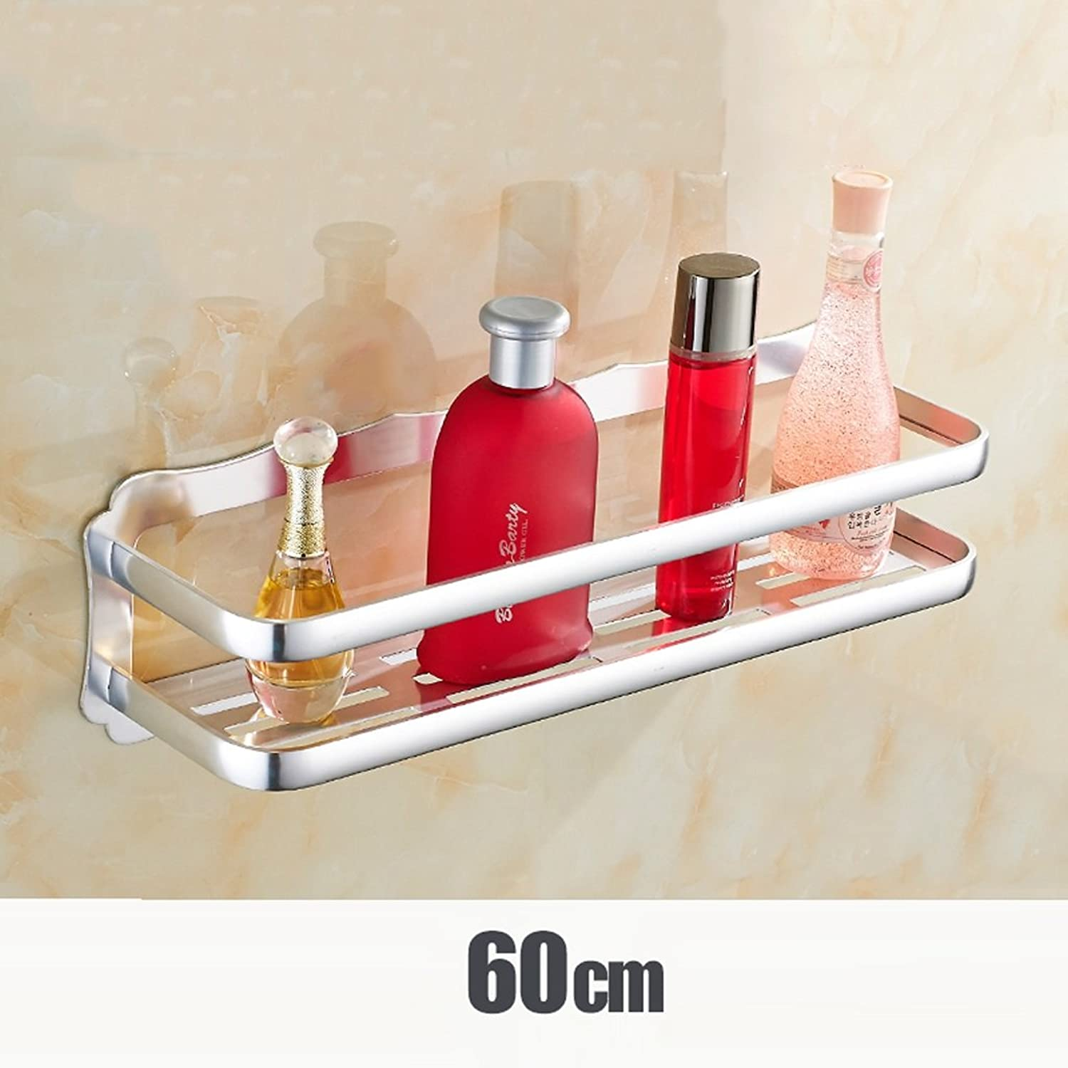 Space Aluminum Shelf Bathroom Toilet Washbasin Triangle Shelf Sucker Wall Mount Bathroom -60CM ( color   Silver )