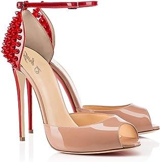 tienda de bajo costo Sandalias Sandalias Sandalias de Mujer Zapatos de tacón Alto Boca de Tobillo Correas de Tobillo Remaches (Tamao   42)  descuento de ventas