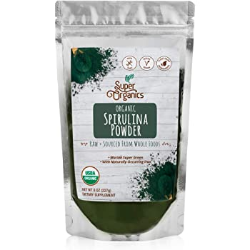 Super Organics Spirulina Powder | Naturally-Occurring Minerals – Organic, Vegan & Non-GMO, 8 Oz