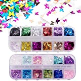 24 colores/set 3D Lentejuelas de uñas de mariposa, Kalolary Holográfica Butterfly Nail L...