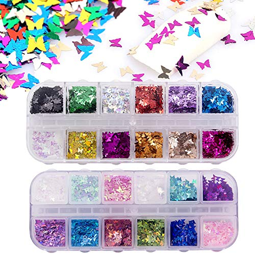 24 Color/Set 3D Butterfly Nail Glitter Sequins, Kalolary Laser Butterfly Nail Sequin Acrylic Paillettes, Holographic Nail Sparkle Glitter for Nail Art Decoration(2 Boxes)