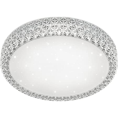 Reality Pegasus Plafoniera LED, Dimmerabile, Effetto Cielo Stellato, Diametro 40 cm 21 W, Bianco, metallo