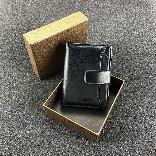 Men's Wallet, Genuine Leather RFID Blocking Wallet Mens, Credit Card Holder Bifold Wallet with Zip Coin Pocket for Men, with Gift Box, Black