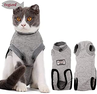 DogLemi Cat Recovery Suit for Abdominal Wounds and Skin Diseases,Professional After Surgey Wear Soft Comfort Alternative E-Collar for Small Medium Cats Kitten Wounds Skin Diseases