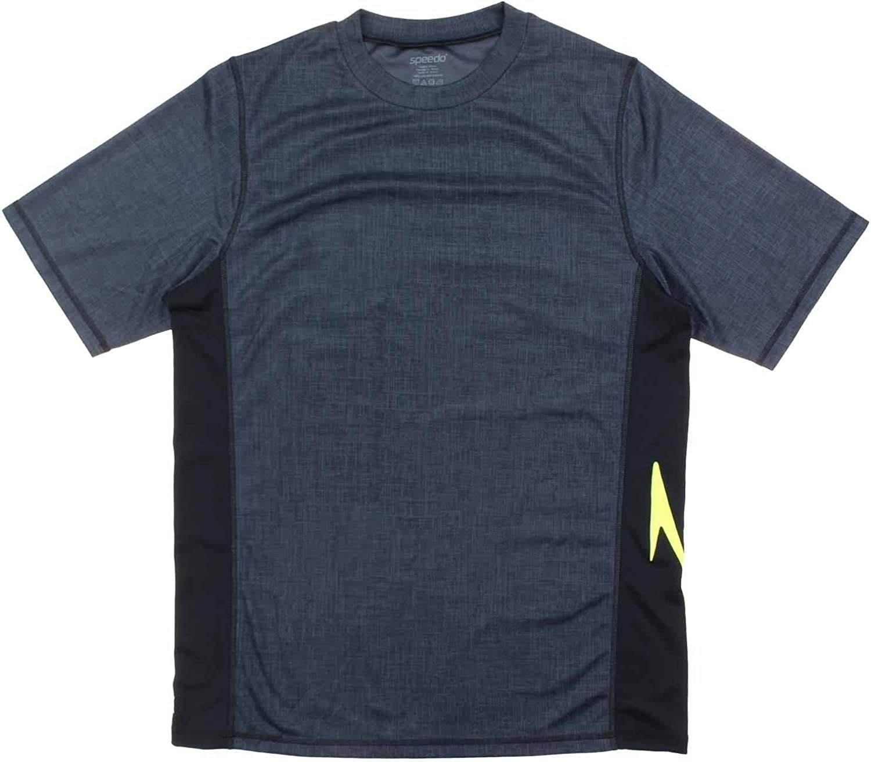 Speedo Men's UPF 50 Short Sleeve Rashguard Swim Tee(Small,Black)
