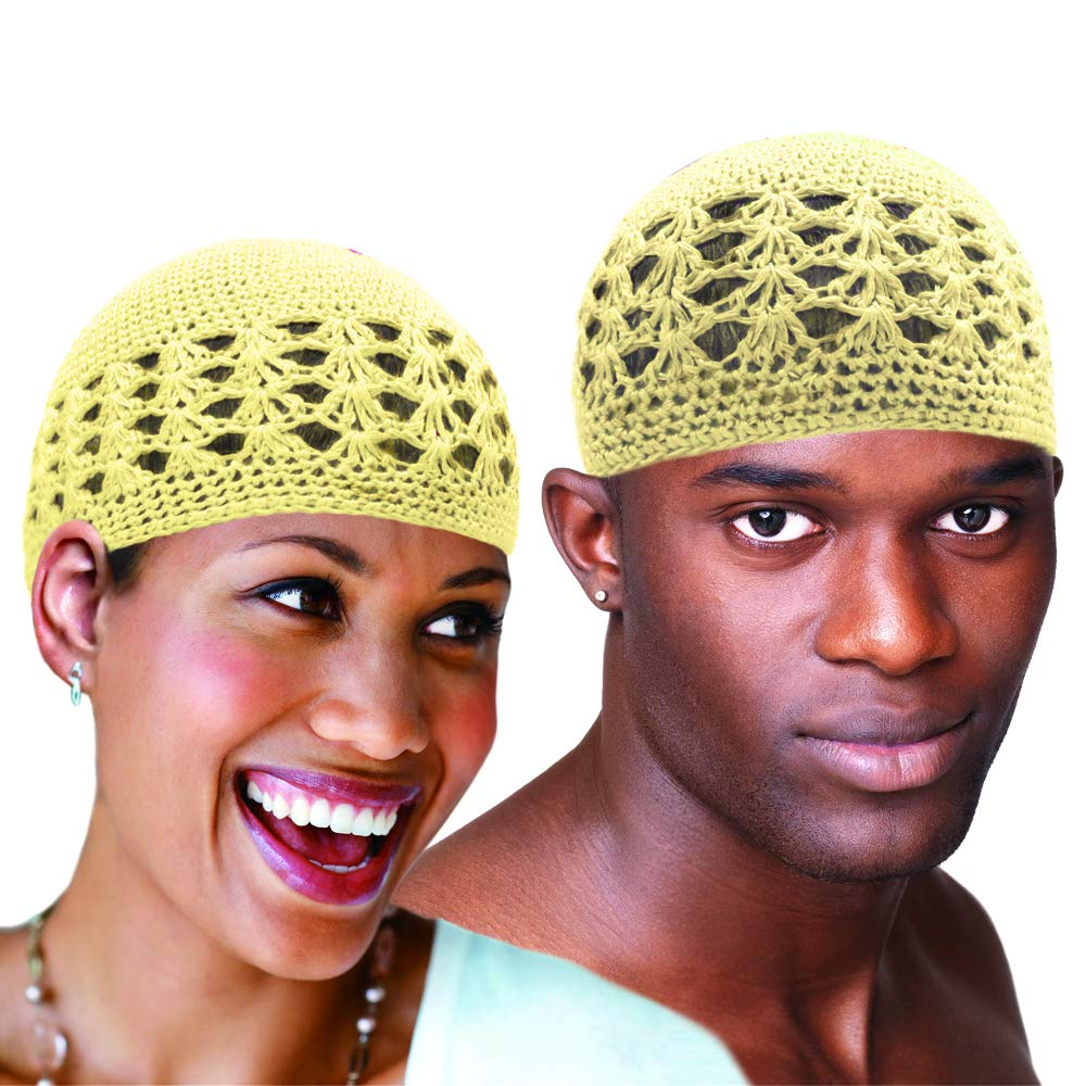 Kufi Hat Skull Cap Chemo Knit Headwrap beanie Stretchable Handmade Extra Large One Size Fits for both Men and Women (Cream)