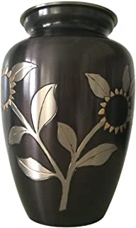 Large Adult Memorial Urns for Human Ashes USA - Black Pewter Sunflower Adult Cremation Brass Urn