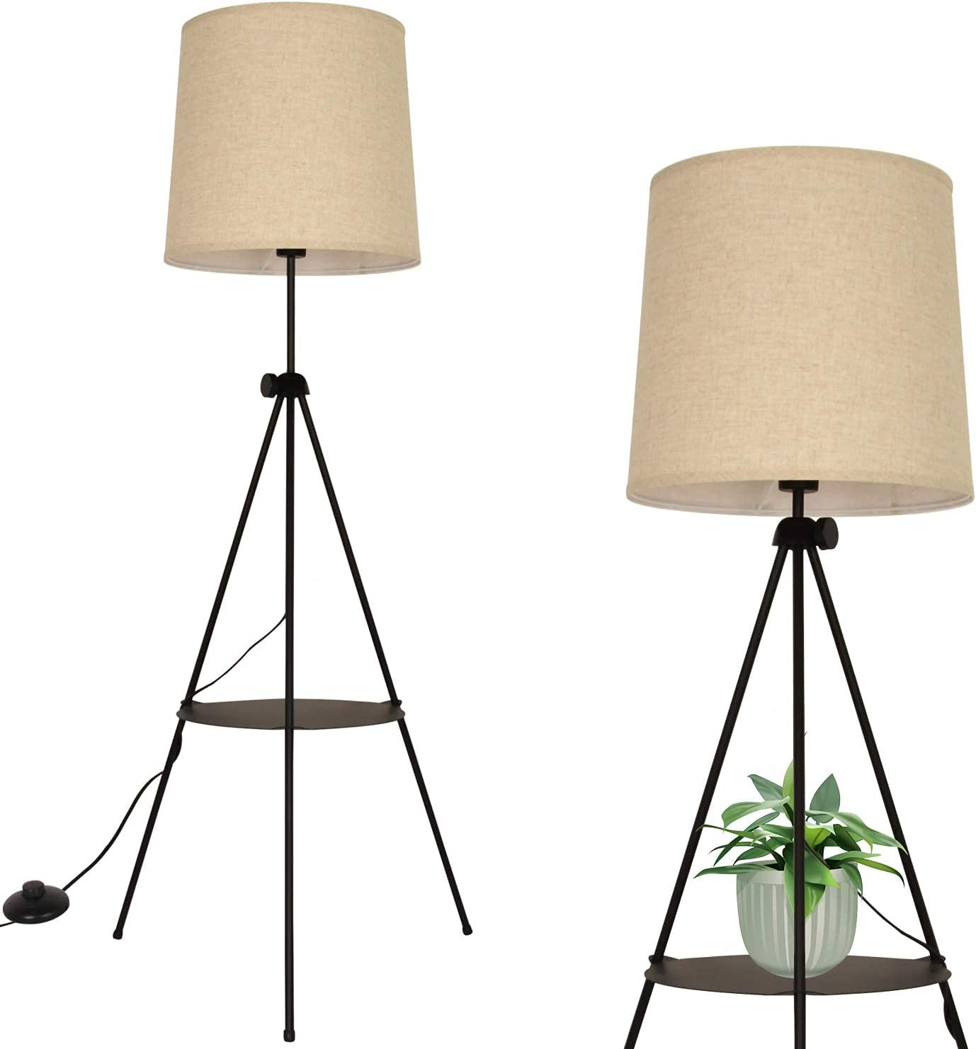 Modern Industrial Flaxen Lampshade Tripod Shelve Floor Rapid rise with Factory outlet Lamp