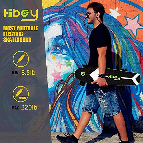 Hiboy S11 Electric Skateboard with Wireless Remote, Longboard Single Hub Motor, Light Weight 7.94LBS, Top Speed 12.4MPH, Range 6.2 Miles, for Teens and Students(Upgraded Version), black1