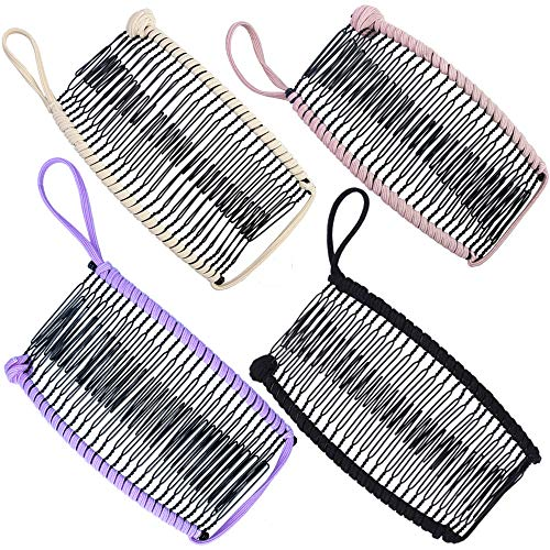 4pcs Banana Hair Clips Stretch Banana Clip for Thick Hair Large Size Vintage Clincher Comb Tool for Women Thin Curly Hair Non-Slip Ponytail Holder Grip Catch Clamp(Black, Pink, Light Purple, Beige)