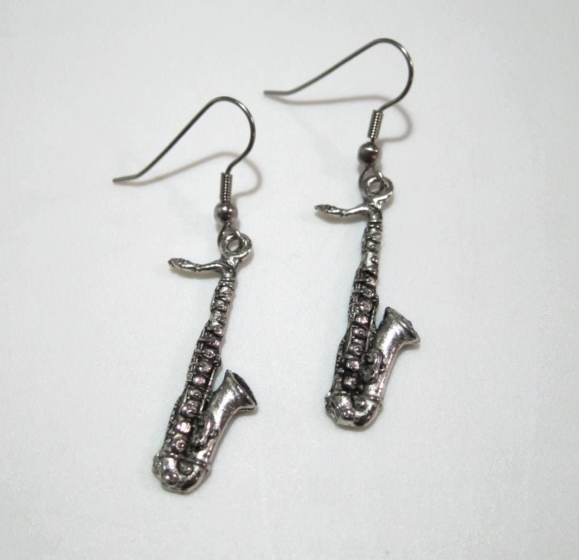 Exclusive Pewter Earrings Max 63% OFF - lowest price Saxophone