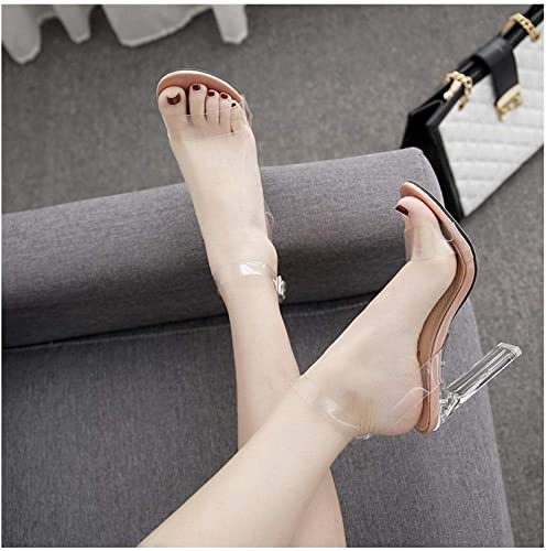 WEATLY Película de tacón Alto Transparente para mujer con Sandalias de tacón Alto
