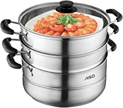MSWL Steamer 304 Stainless Steel 3 Layer Double Bottom Thickening Household Three-layer Multi-layer Steamer Pot hot pot, k...
