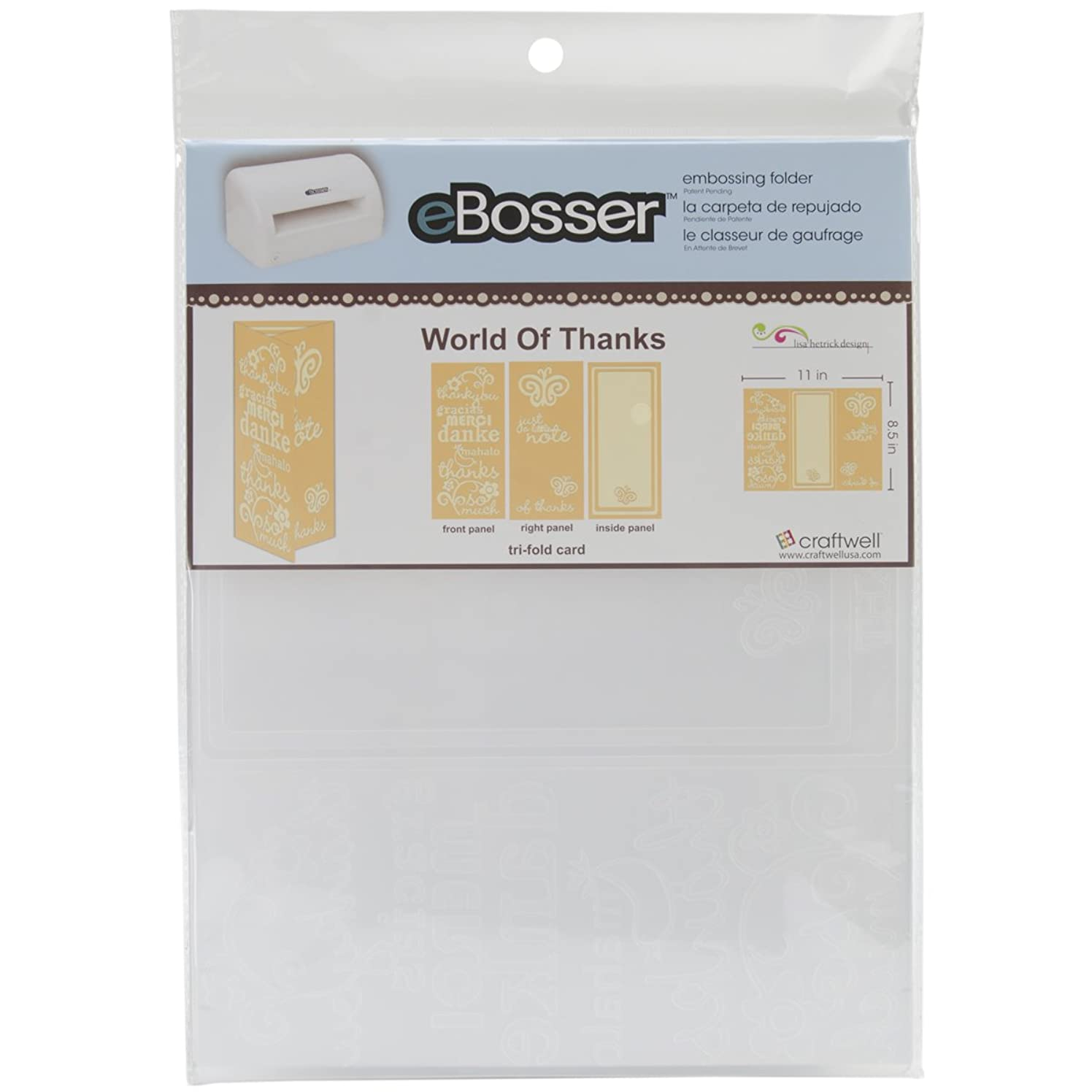 Craftwell USA World of Thanks Embossing Folder, 8.5 by 11-Inch