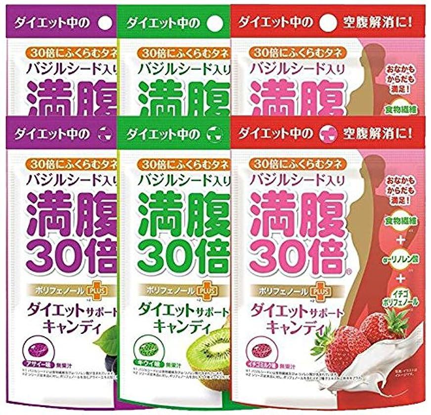 干渉称賛警報満腹30倍 ダイエットサポートキャンディ 3種アソート( アサイー キウイ イチゴミルク 各2袋) 6袋