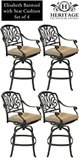 Heritage Outdoor Living Elisabeth Cast Aluminum Barstool - Set of 4 - Antique Bronze