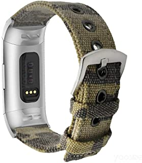 YOOSIDE Band for Fitbit Charge 3, Woven Canvas Camouflage Band Strap with Metal Stainless Steel Ring Clasp Wristband Band ...