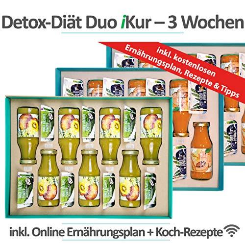 Detox Diät Duo 3 Wochen Kur | 100% Natürlich & Vegan | Ganzheitliches Konzept inkl. basischer Ernährungsplan + Einkaufsliste | Effektiv Cleansing & Abnehmen durch Säure-Basen Balance | Koch-Rezepte