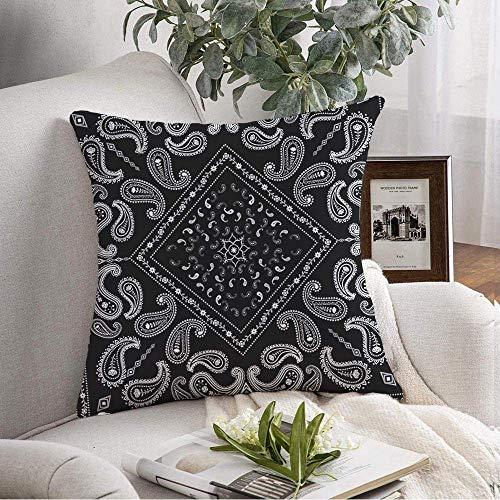 ETGeed Use Paisley Retro Pañuelo Negro de Colores Patrón Vintage Cuello Borde Pañuelo Blanco Fundas de Almohada clásicas artísticas, 18 'x18'