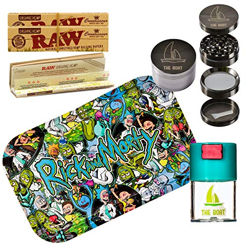 Kit para Fumar - Bandeja para Liar Rick and Morty FULL 27,5cm x 17,5cm + RAW Organic Connoisseur Kings Size (3 unidades) + Bote hermético antiolor +Grinder metálico THE BOAT 4 partes con rasc
