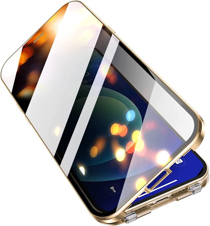iPhone 12 Privacy Case with Screen Protector, Camera Lens Protector, Anti Peep Shockproof Clear Phone Case with Anti Peeping Double-Sided Safety Buckle (iPhone 12, Gold)