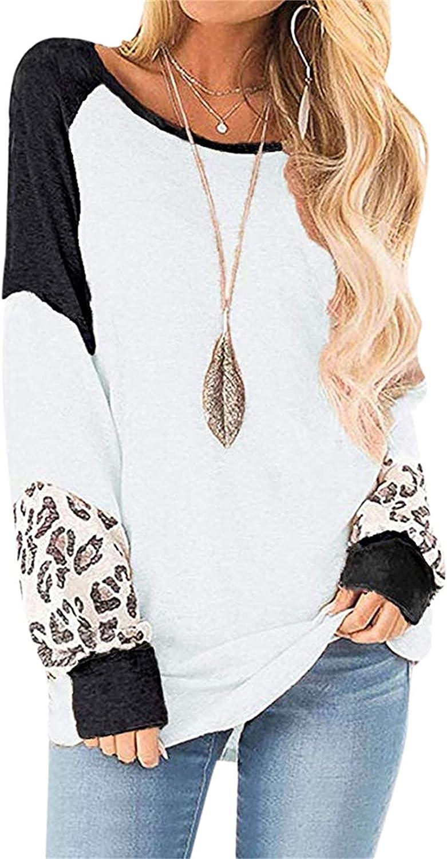 Fankle Women's Casual Raglan Long Sleeve Leopard Print T-Shirt Blouse Tops Pullover