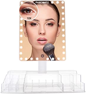 LED Lighted Large Vanity Makeup Mirror with 10X Magnifying Mirror - Dimmable Natural Light, Touch Screen, Dual Power, Adjustable Stand with Cosmetic Organiser,White