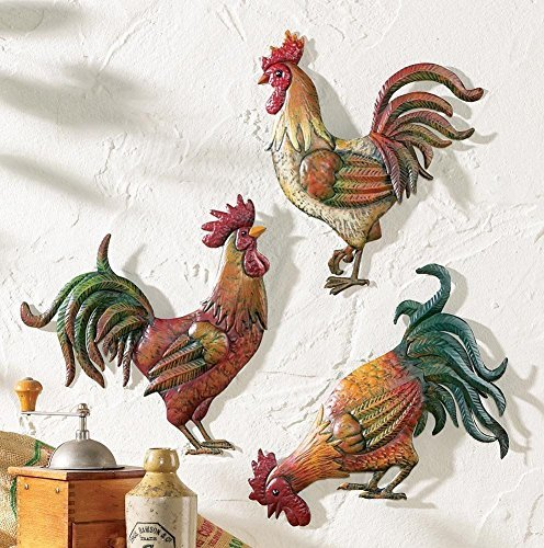 Collections-Etc French Country 12' Metal Rooster Trio, Multicolor