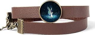 Unisex Punk Rock Leather Cuff Bracelet/Glass Pendant Choker Collar Necklace Adjustable Wristbands Belt Wrap Bracelet for Women Men - Fantasy Night Girl and Firefly