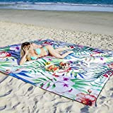ESNESEMOH Beach Mat Oversized 10'X 9' for 4-7 Adults, Outdoor Blanket,Parachute Nylon Sandproof Waterproof Beach Blankets for Beach Festival, Hiking and Outdoor Camping (Flamingo)