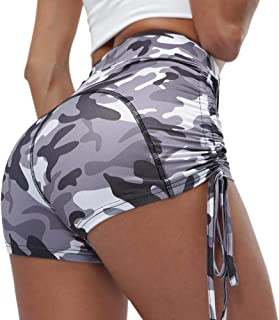 Women's Yoga Leggings Stretchy High Waist Ruched Butt Lifting Workout Athletic Drawstring Compression Shorts