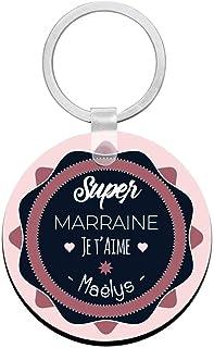 Porte clés à personnaliser avec prénom super MARRAINE - cadeau personnalisé marraine - porte clé marraine parafaite - idée...
