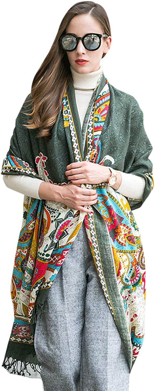 Cold Weather Scarves Scarf Shawl Ladies Scarf Fashion Printed Scarf Spring and Autumn Wool Scarf Dualuse Cape Cloak Ladies Wrap Shawl MultiFunction Scarf New Year Gift Wraps