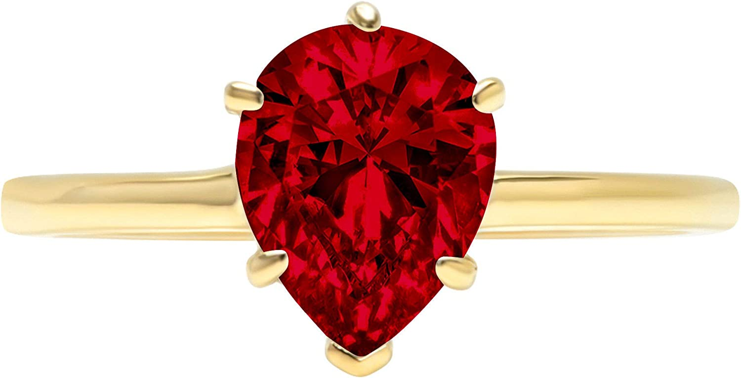 2.0 ct Brilliant Pear Cut Solitaire Natural Deep Pomegranate Dark Red Garnet Gemstone Ideal VVS1 6-Prong Engagement Wedding Bridal Promise Anniversary Ring Solid Real 14k Yellow Gold for Women