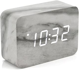 Oct17 Marble Pattern Alarm Clock, Fashion Multi-Function LED Alarm Clocks Stone Cube with USB Power Supply, Voice Control, Timer, Thermometer -Marble