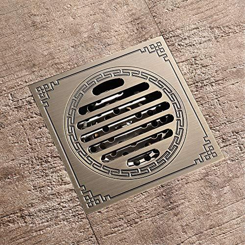 PIJN Bodenablauf Großes Displacement Badezimmer Deodorant Bodenablauf Antique Copper Bodenablauf (Color : Metallic, Size : 100x100x41mm)