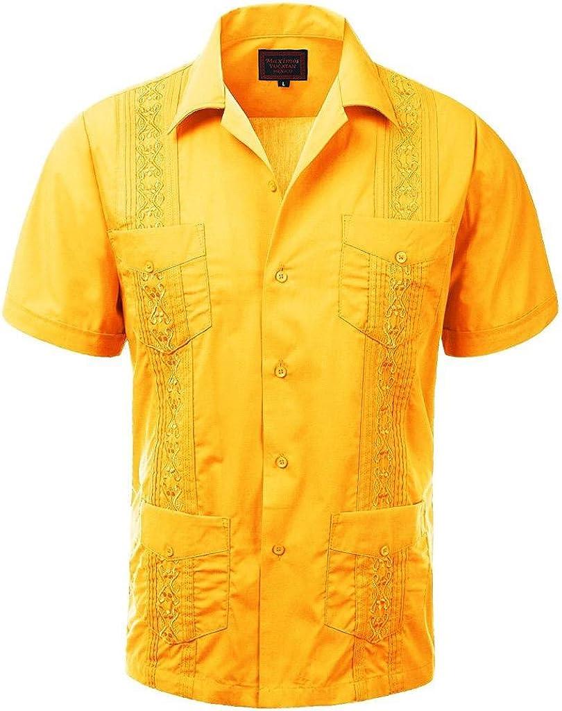 vkwear Guayabera Men's Cuban Beach Wedding Short Sleeve Button-up Casual Dress Shirt