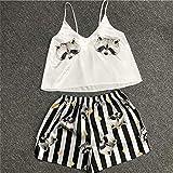 FDRE Animal Cartoon Print Lovely Sleepwear Home Suit Summer V Neck Sexy Pyjamas Women Spaghetti Strap Loose Pijama Satin XXL 03