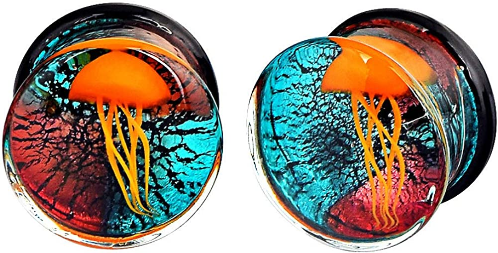 Stuppendux 1Pair Glass Plugs Colorful Flared Tunnels Ear Double Direct stock discount unisex