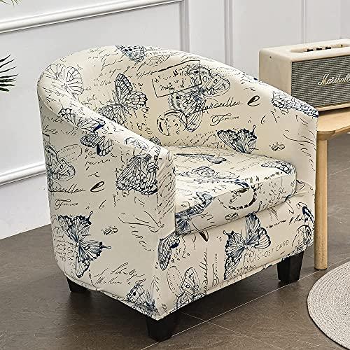 Funda de sofá elástica para bañera, 2 piezas, para sillón, a prueba de polvo, universal, extraíble, patrón clásico, protector de muebles, fundas de sofá para sala de estar, café (mariposa azul)