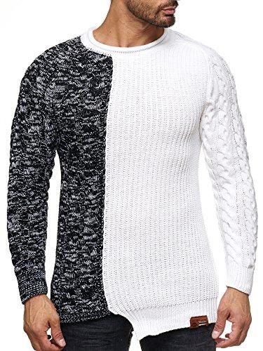 Tazzio Pullover Herren Strickpullover Grobstrick 17402 (Weiß, M)