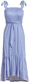 ZCLAU The New Sling Pleated Dress Loose Print Dress 22089 (Color : Blue, Size : M)