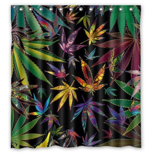 METSAE Generic Personalized Marijuana Weed Leaf Colorful Nature Shower Curtain Bath Decor Curtain 66' x 72'