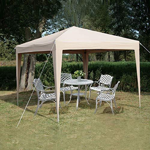 fam famgizmo Pavillon 3x3m wasserdicht Pop-Up inkl. Tasche UV-Schutz 50+ Faltpavillon Gartenzelt Partyzelt Beige