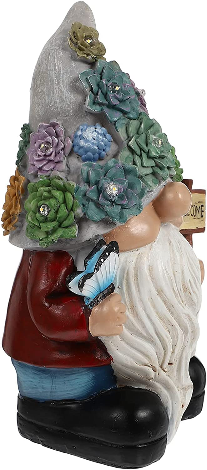 IMIKEYA Garden sold out Gnome Statue Elf Solar Dw Max 80% OFF Light Outdoor Figurines
