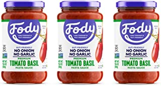 Fody Food Co, Tomato Basil Pasta Sauce, Low FODMAP and Gut Friendly, Gluten and Lactose Free, Garlic and On...