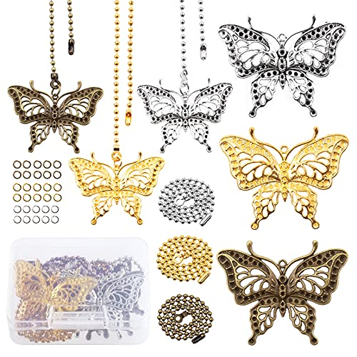 Mardatt 42 Pcs Metal Butterfly Ceiling Fan Pendants with Ball Chain Connector, Vintage Silver Gold Bronze Chain Pull Extender for Fans and Light Decoration