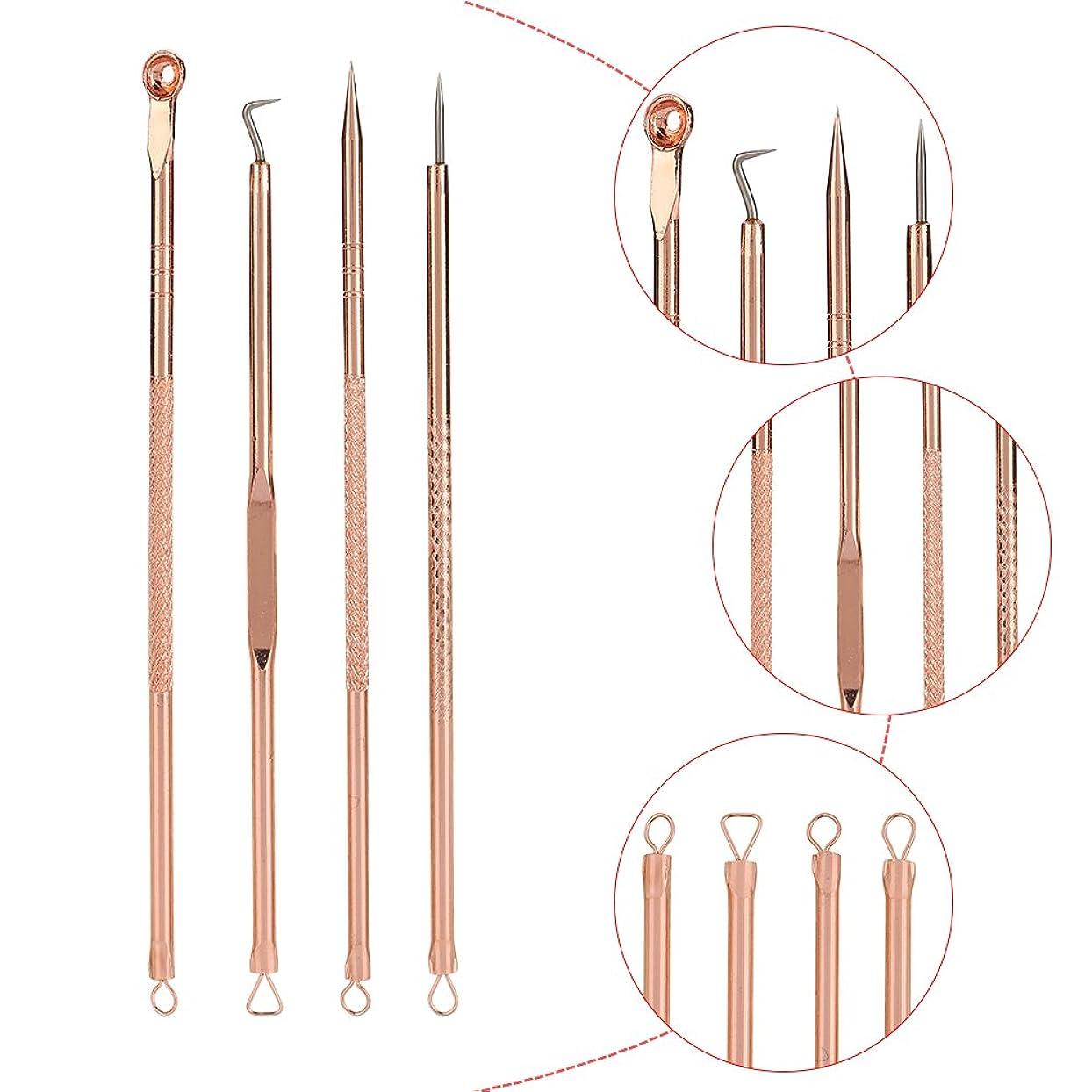 予見する理論鍔4PCSブラックヘッド抽出器 - ブラックポイントのステンレス鋼コメドーンブラックヘッドプーラープロフェッショナル抽出 - ケース付きブラック/ホワイトポイント/ニキビボタン/ボタン