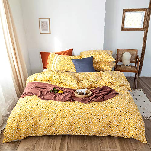 MICBRIDAL Garden Floral Bedding Set Twin Girl Kids Floral Duvet Cover Yellow Super Soft 100% Cotton Bedding Duvet Cover with 2 Pillowcases Chic Spring Botanical Floral Comforter Cover with Zipper