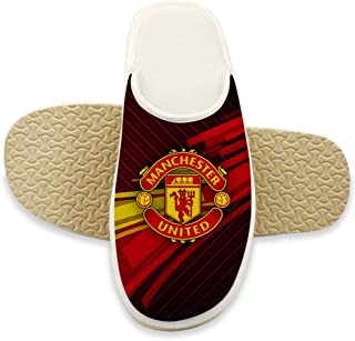 UUKELLY Manchester United Football Plush Fleece Lining House Slippers Non-Slip Home Shoes for Indoor & Outdoor Comfy Shoes